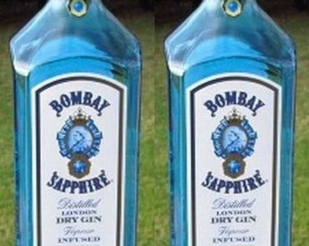 2 BOMBAY SAPPHIRE GIN 1.75 Liter 1.75L empty recycled liquor bottles with screw cap for crafts
