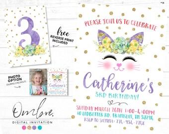 Kitty Birthday, Kitty Invitation, Cat Invitation, Kitty Birthday Party, Kitty Cat Party Invitations, Girl Birthday Invites, Cat Party Invite