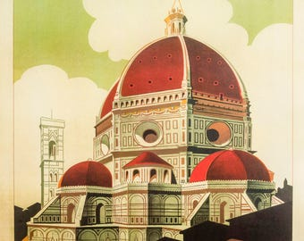 Firenze cupola poster art print retro 50 x 70 cm Florence Italy DOM poster