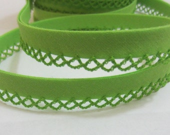 Bias binding with crocheted trim/crochet edge light green