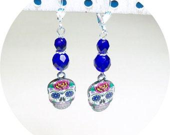 Blue Earrings, Day of the Dead Earrings, Blue Skull Earrings, Skull Earrings, Skull Dangle Earrings, Sugar Skull Dangle Earrings
