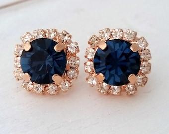 Navy blue stud earrings,Rose gold blue earrings,navy blue bridesmaid gifts,studs,Swarovski crystal stud earrings, Bridal earrings,
