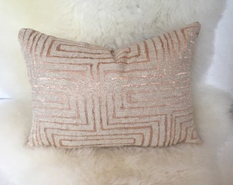 Beige & Rose Gold Throw Pillow Throw Pillow w/ Geometric Pattern and Brass Zipper - lumbar pillow, metallic pillow