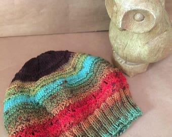 Warm Rainbow Knit Hat