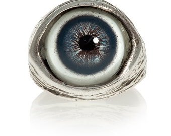 Eyeball Ring, Eye Ring, Evil Eye Ring, in blue, solid sterling silver, size 4 to 11 adjustable (Made in NYC)