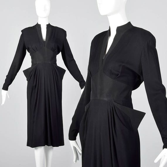Black Outfit Evening Little Vintage Dress Wear XS Cocktail Pointed Party Pockets Formal 1940s Rayon Dress 40s Femme Black Fatale wzwq4OB
