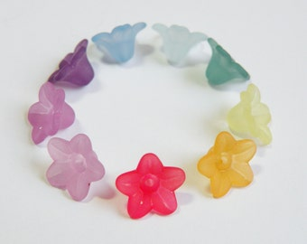 100 Frosted Trumpet Bell Flower Tiny Beads acrylic colorful assorted mix 9x5mm frosted lucite PL554