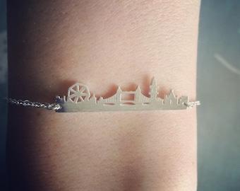 London landscape silhouette cityview silver bracelet adjustable