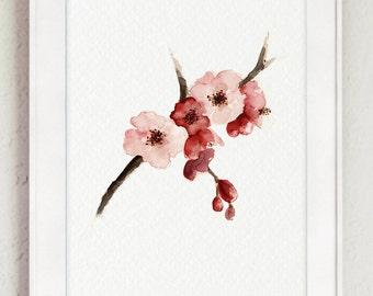 Cherry Blossom Watercolor Painting, Sakura Tree Poster, Abstract Pink Flowers, Japanese Art Print, Floral Nursery Decor, Girls Room Decor