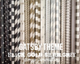 Black, Gold, silver and Grey color paper straws for wedding decoration/ pack