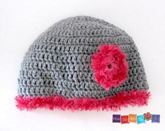 Crochet Hat Pattern, PDF Crochet Hat For Teen, Flower Hat, Beanie Hat With Flower Motif, Crochet Pattern PDF , Instant Download Easy Pattern