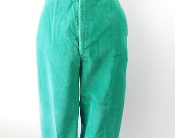 30% SPRING SALE Vintage 1970s Cheenos Kelly Green Straight Leg High Waist Flat Front Stretch Corduroy Boot Cut Pants Trousers Sz Medium