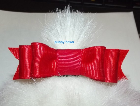 "Puppy Bows ~  Long 3"" double loop bow tie pet hair bow latex bands or barrette red black blue pink lots of colors"