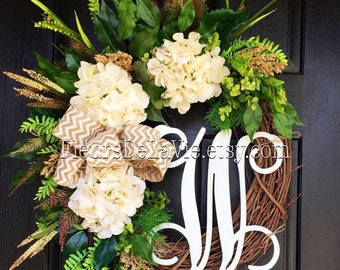 BEST SELLER! Summer Wreaths for Front Door, Front Door Wreaths, Farm House Wreaths, Hydrangea Wreath, Grapevine Wreath, Burlap Wreath