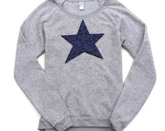 4th of July Shirt. Sequin Star Shirt. American Flag Shirt. 4th of July Sweatshirt Jumper. Red White and Blue. USA. Star Patch. July 4th