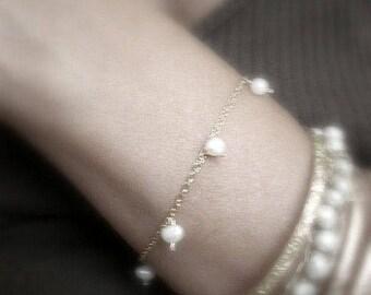 14k Gold filled bracelet with dangle pearls