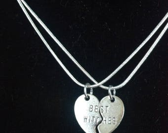 Best Witches silver chain necklace set / best friend necklace
