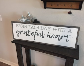 """Framed Insert Style Wood Begin each day with a grateful heart Sign - 11""""x36"""" - Rustic Farmhouse Decor Style Fixer Upper (Item - LHS100)"""
