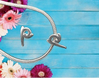 Lowercase 'p' Sterling Silver Charm Necklace With Gift Box