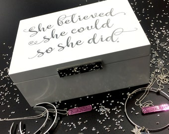 She Believed She Could So She Did Keepsake Box | Jewelry Box | Gift for Her | Motivational Gift | White & Silver Fitness Gift for Lifter