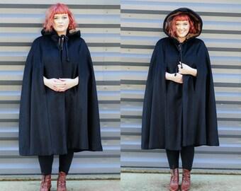 long black cape opera cape fur trim cape black hooded cape black wool cape long wool cape L long black cape L long wool cape USA Mink Fur