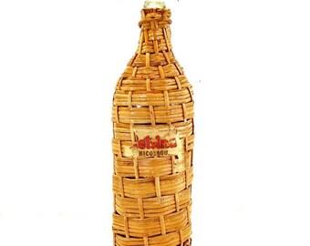 Vintage Demi John Wine Bottle in Wicker Retsina Greek Bottle