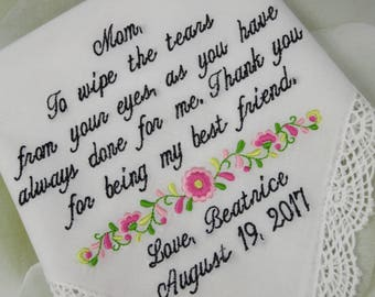 Personalized Wedding Handkerchief For Mother Of The Bride - Embroidered Wedding Gift