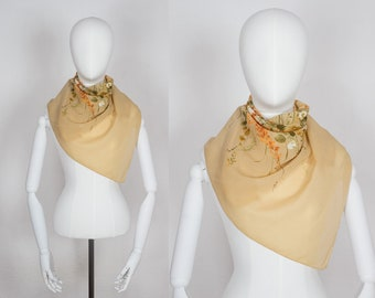 Vintage Floral Scarf / Peach Scarf / Hand rolled Vintage Scarf / Vintage Leonardi Scarf / Vintage Peach Scarf / Peach Leonardi Scarf