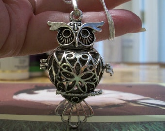 Silver Owl Essential Oil Diffuser Necklace, by Brendas Beading on Etsy