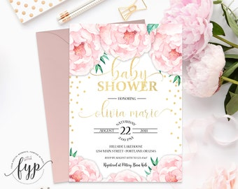 Boho Baby Shower Invitation, Girl Baby Shower Invite, Baby Girl Shower Invitation, Baby Girl Invitation, Confetti Baby, Floral Invitation