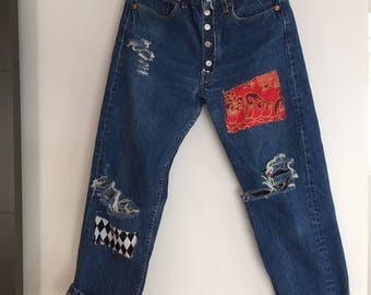 Red and Black Patched Jeans