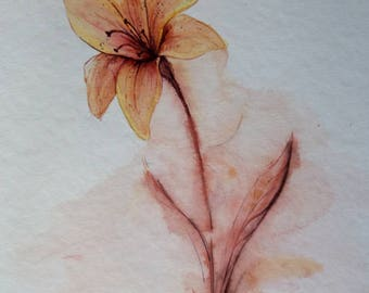 Red flower watercolor