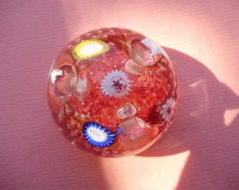 Vintage Paperweight HEAVY Art Glass Flower Frog Vase type , Murano? Bubbles , 1 1/2 Lbs.