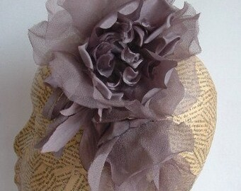 Extra Large Chiffon Flower - Grey - Millinery, hats, fascinators, races, weddings, hair accessories