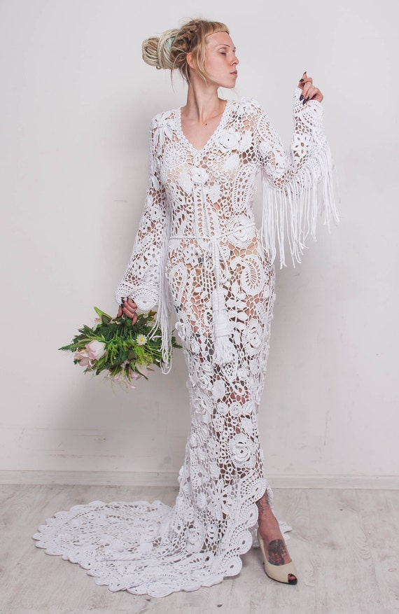 Häkeln Hochzeit Maxi-Kleid handgefertigt weißen Kleid Hochzeit