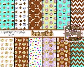 Coffee Donut Digital papers 12x12, Coffee Mugs, Doughnuts for Birthday, Scrapbooking Paper Party Theme