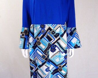 Original Vintage 1970s Plus Size Blue Maxi Dress UK Size 18/20