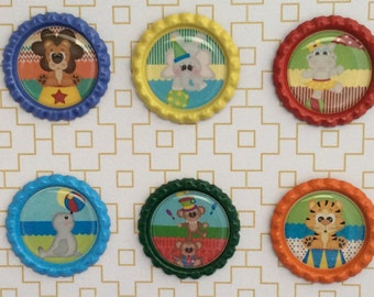 Circus Animals Bottle Caps Necklace/ Keychain/ Zipper Pulls
