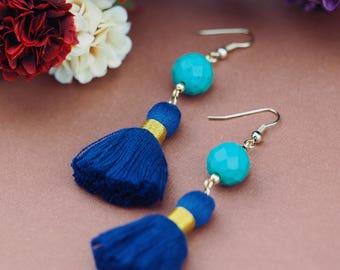 Turquoise earrings, blue tassel earrings, turquoise statement earrings, gift for her