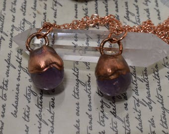Amethyst Crystal Ball and Copper Pendant Electroformed necklace healing boho pagan magic witch jewelry fantasy sphere