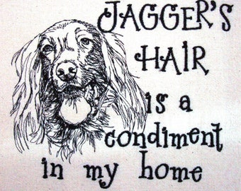 Dog Hair is a Condiment - Tea Towel - Kitchen Towel - Dish Towel - Home Decor - Breed Outline - Setter - Personalized