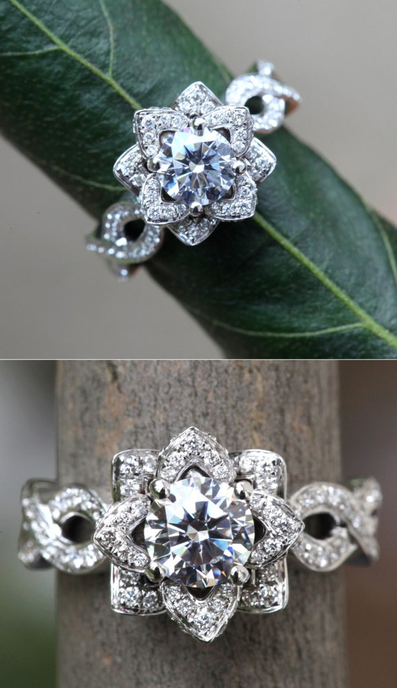 EVER BLOOMING LOVE Diamond Engagement Flower Ring Infinity