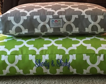 Quatrefoil Dog Bed || Personalized Blue Small Medium Pillow Cover || Custom Puppy Gift  by Three Spoiled Dogs