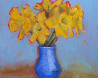 Still Life Floral Oil Painting// Yellow Daffodil Bouquet // 12 x 12 Gallery Wrap Canvas