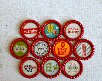 Inspirational Decor- Travel and Adventure Bottlecap Magnets- Travel, Adventure, Life is a Journey, Wild and Free, Enjoy the Ride, Wander