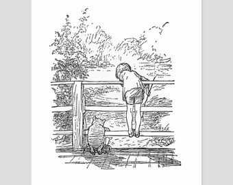 "Pooh Sticks Game Print, Black and White Nursery Art (Baby Boy Wall Decor Girl, Gift for Book Lover) Pooh Bear Artwork -- ""Christopher Robin"""