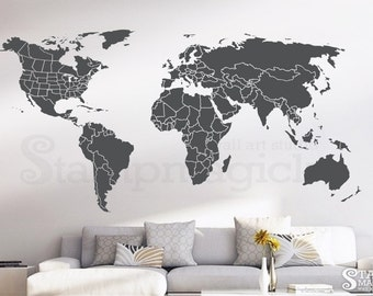 World map wall decal countries border wall art sticker world map wall decal countries united states map canada province wall art chalkboard black white gumiabroncs Choice Image