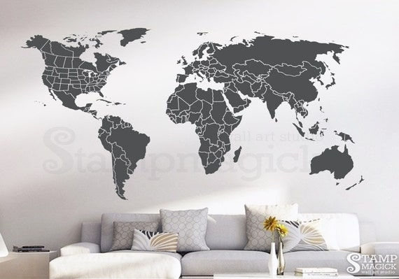 World map wall decal countries united states map canada gumiabroncs Choice Image
