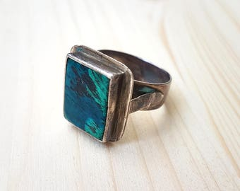 Turquoise Ring - Silver Ring - Silver Turquoise Ring - Square Turquoise Ring - Square Ring