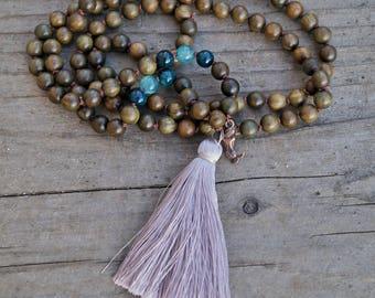 Sandalwood and Agate 108 Mala Necklace - Mermaid Mala Tassel Necklace - Buddhist Prayer Beads 108 Necklace - Meditation - Yoga Jewelry